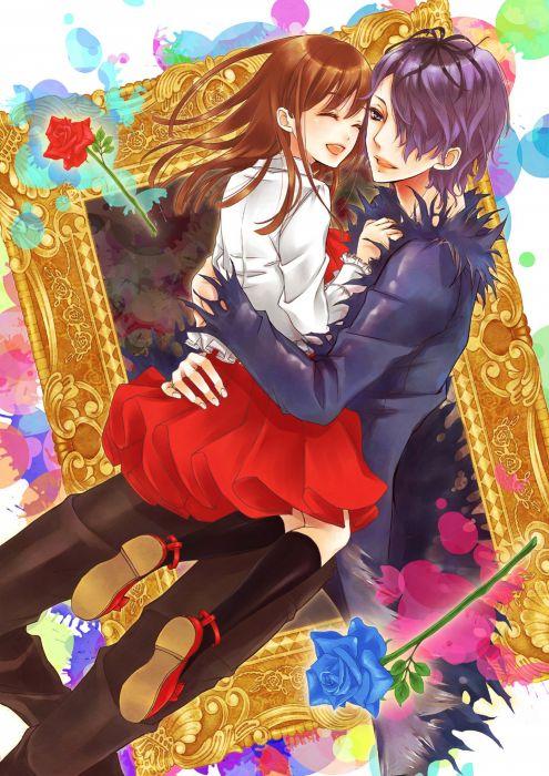 anime girl brown hair flower long hair purple eyes purple hair red eyes short hair skirt love couple wallpaper