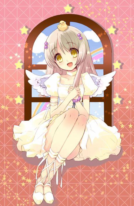 anime girl cute anime girl beautiful dress stars window wallpaper