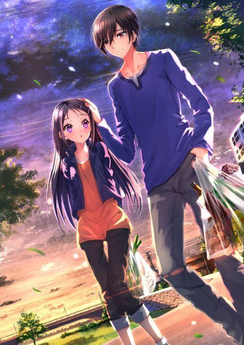 anime girl charlotte anime series couple love long hair wallpaper