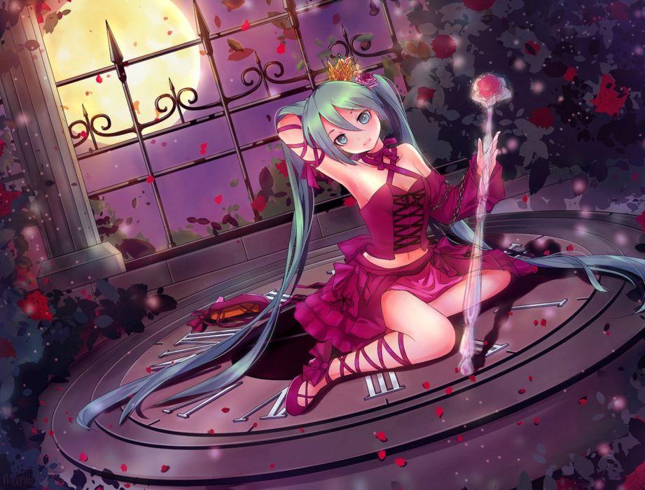 anime girl flower green eyes green hair high heels long hair moon night ribbon royalty skirt sky smile staff twin tails wallpaper