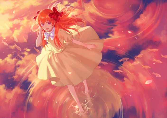 anime girl gekkan shoujo nozaki-kun sakura clouds long hair anime series cute girl beauty dress wallpaper