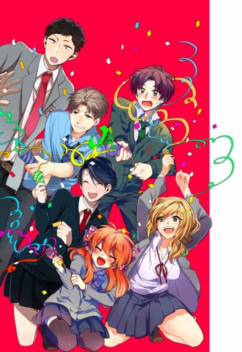 anime girl gekkan shoujo nozaki-kun sakura nozaki long hair anime series couple love cute girl guy beauty school uniform group wallpaper