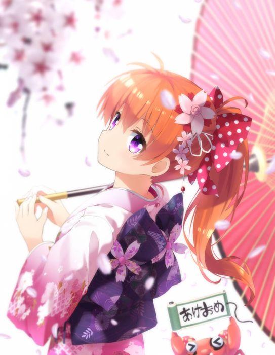 anime girl gekkan shoujo nozaki-kun sakura umbrella long hair anime series flower cute girl beauty kimono wallpaper