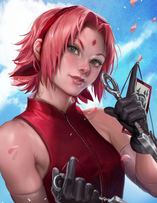 anime girl haruka naruto beauty mark gloves green eyes hair band ninja pink hair short hair sky smile weapon wallpaper