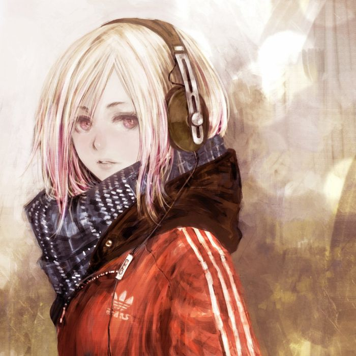 anime girl original-adidas-sennheiser-matagiro-single-short+hair wallpaper