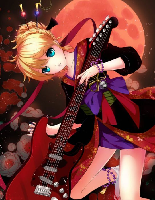 anime girl vocaloid bells blue eyes flower guitar jewelry kimono moon night ribbon short hair sky wallpaper