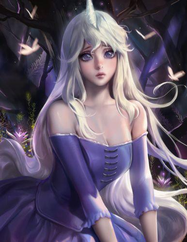 anime girl unicorn last butterfly dress horns long hair purple eyes tree white hair wallpaper