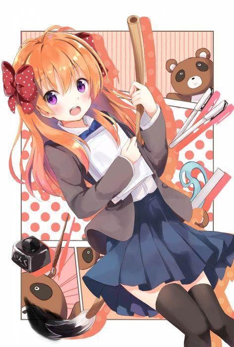 anime girl tanuki animal gekkan shoujo nozaki-kun sakura nozaki long hair anime series cute girl beauty school uniform wallpaper