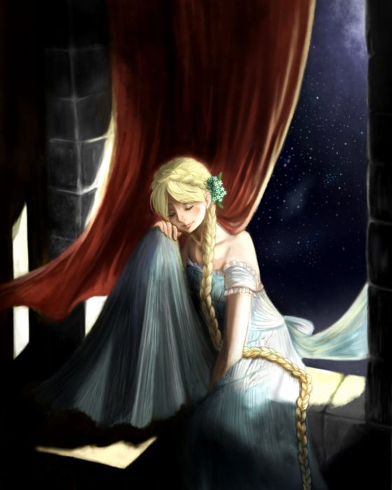 anime girl Rapunzel blonde hair braids dress flower long hair night ribbon sky smile stars wallpaper
