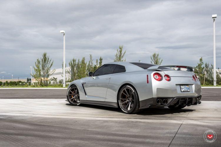 Nissan R35 GT-R Vossen wheels cars coupe godzilla silver wallpaper