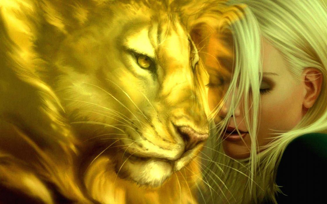 abstracto fantasia mujer leon wallpaper