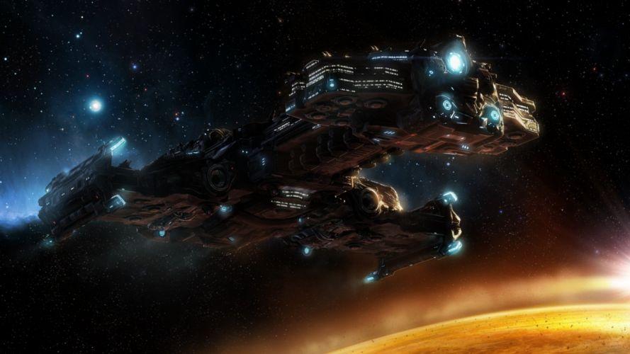 STARCRAFT military sci-fi futuristic rts strategy warrior spaceship wallpaper