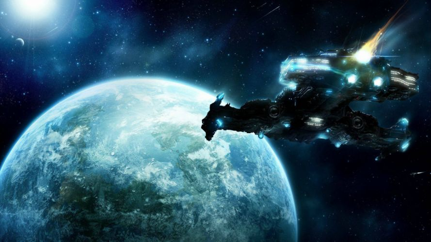 STARCRAFT military sci-fi futuristic rts strategy warrior spaceship wallpaper