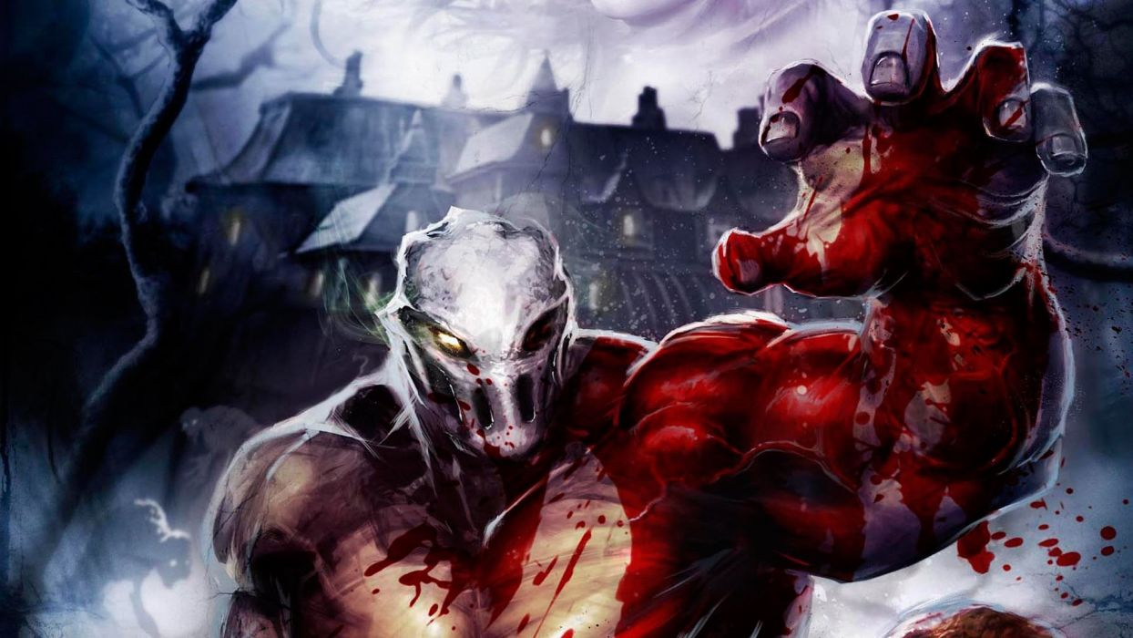 SPLATTERHOUSE dark horror action fighting evil fantasy 1shouse warrior monster creature blood wallpaper