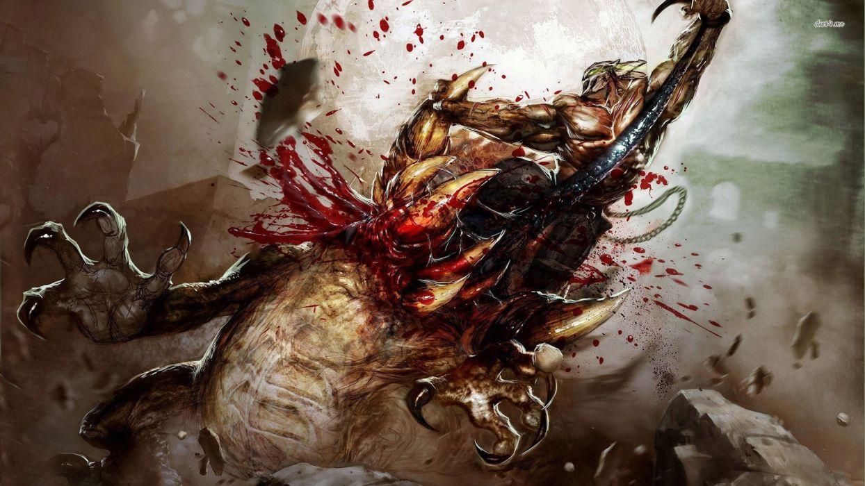 SPLATTERHOUSE dark horror action fighting evil fantasy 1shouse warrior monster creature blood wallpaper