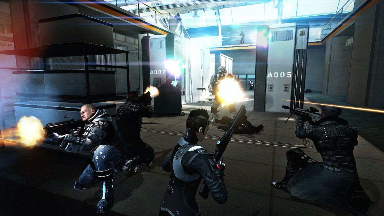 SYNDICATE cyberpunk shooter sci-fi action fighting crime spy tactical wallpaper