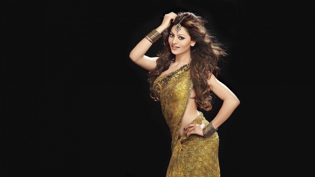 urvashi rautela bollywood actress model girl beautiful brunette pretty cute beauty sexy hot pose face eyes hair lips smile figure indian saree sari wallpaper