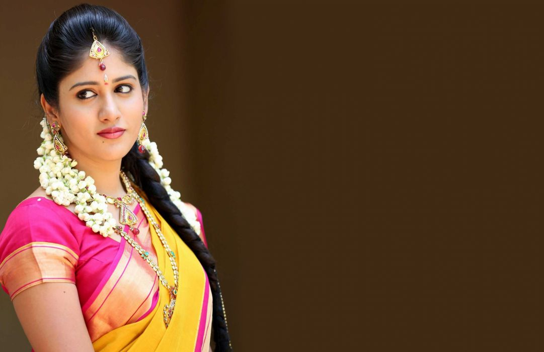 Chandini Chowdary bollywood actress model girl beautiful brunette pretty cute beauty sexy hot pose face eyes hair lips smile figure indian saree sari wallpaper