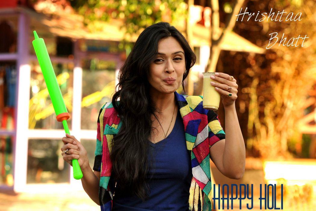 hrishitaa bhatt bollywood actress model girl beautiful brunette pretty cute beauty sexy hot pose face eyes hair lips smile figure indian  wallpaper