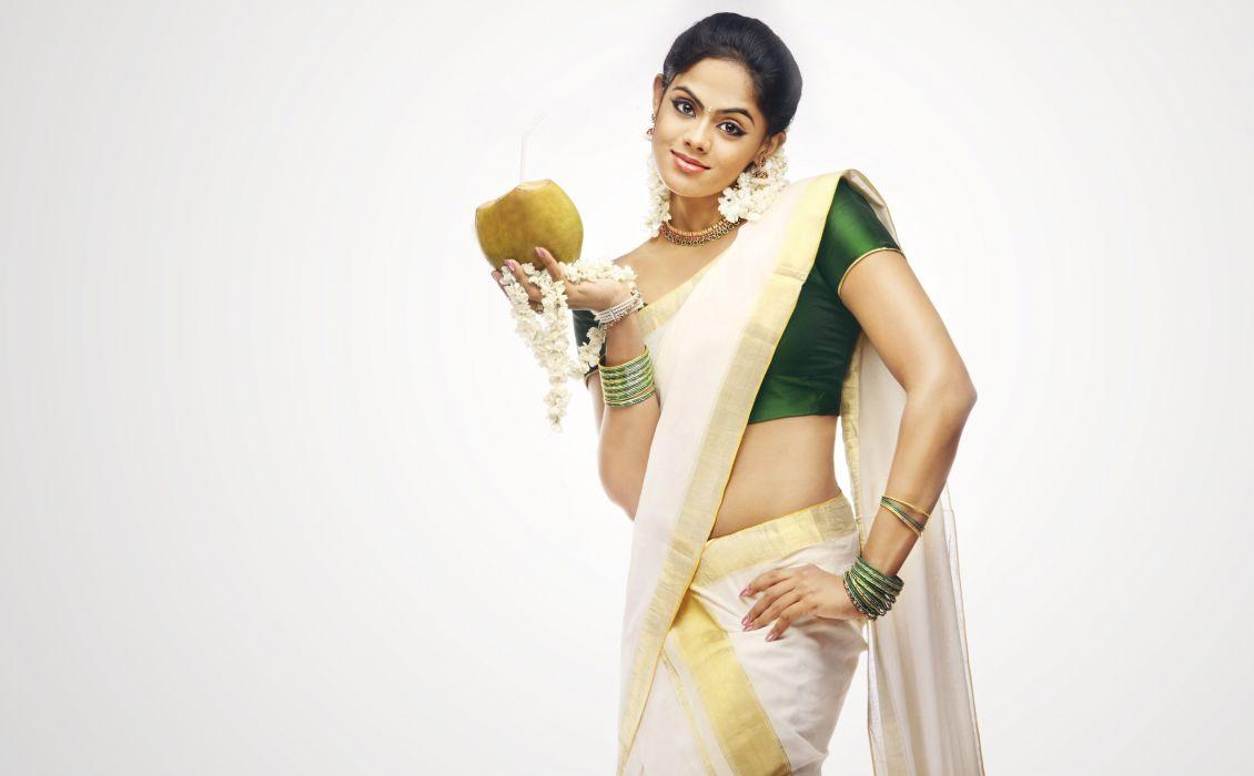 karthika Nair bollywood actress model girl beautiful brunette pretty cute beauty sexy hot pose face eyes hair lips smile figure indian saree sari wallpaper