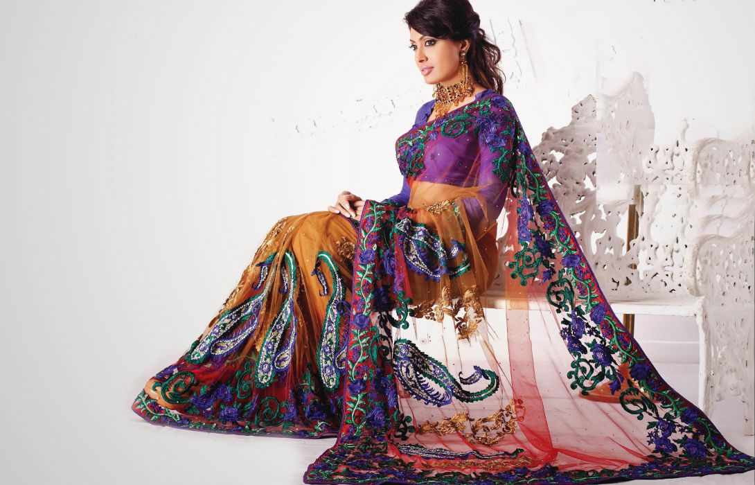 bollywood actress model girl beautiful brunette pretty cute beauty sexy hot pose face eyes hair lips smile figure indian saree sari wallpaper
