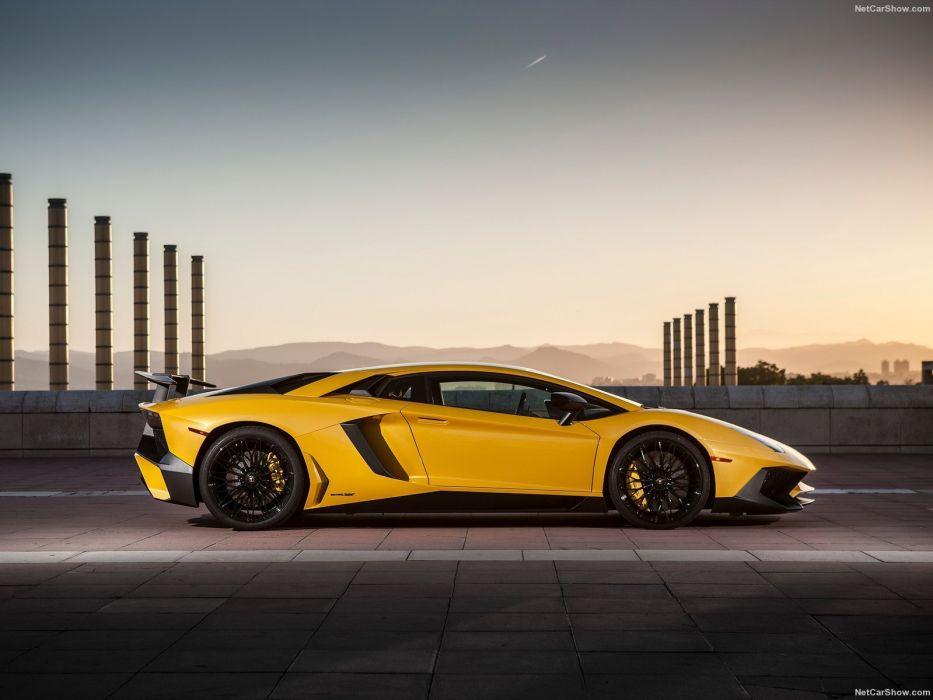 2016 Aventador cars Coupe Lamborghini LP750-4 supercars yellow wallpaper
