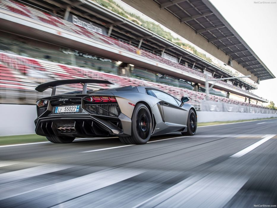 2016 Aventador cars Coupe Lamborghini LP750-4 supercars black wallpaper