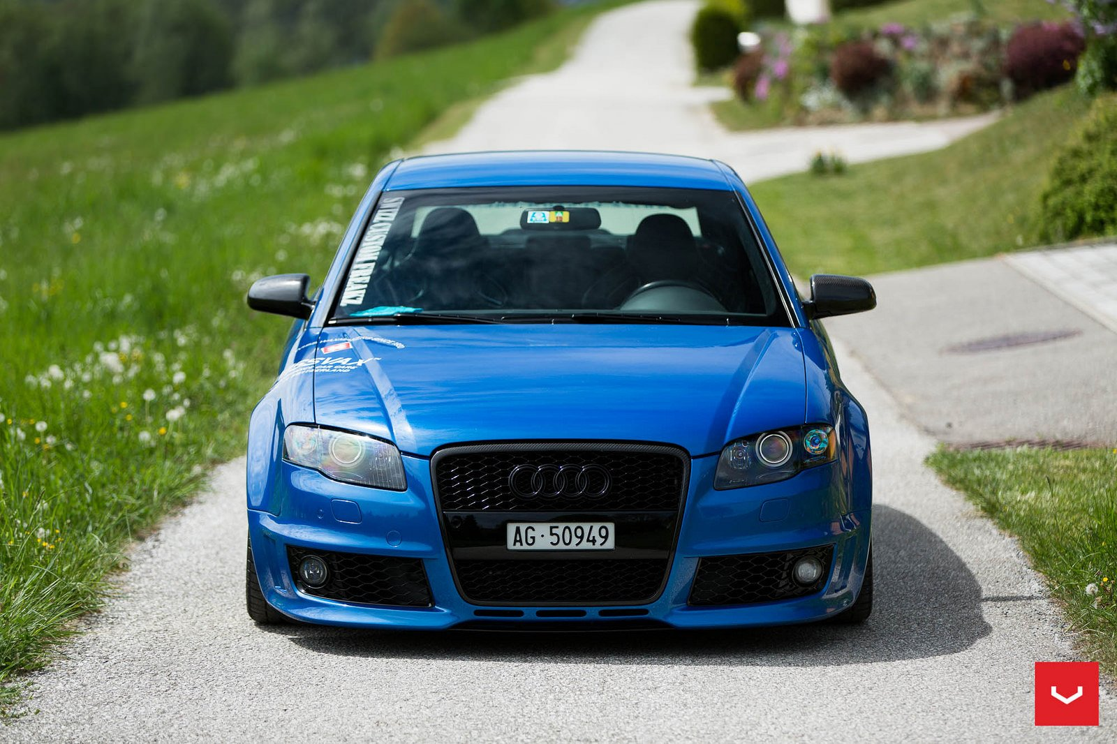 Audi Rs4 Vossen Wheels Cars Blue Wallpaper 1600x1066