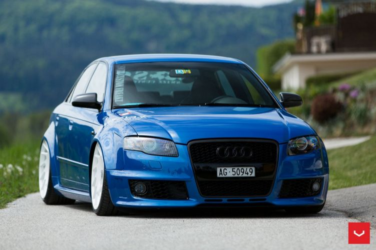 Audi RS4 Vossen Wheels cars blue wallpaper