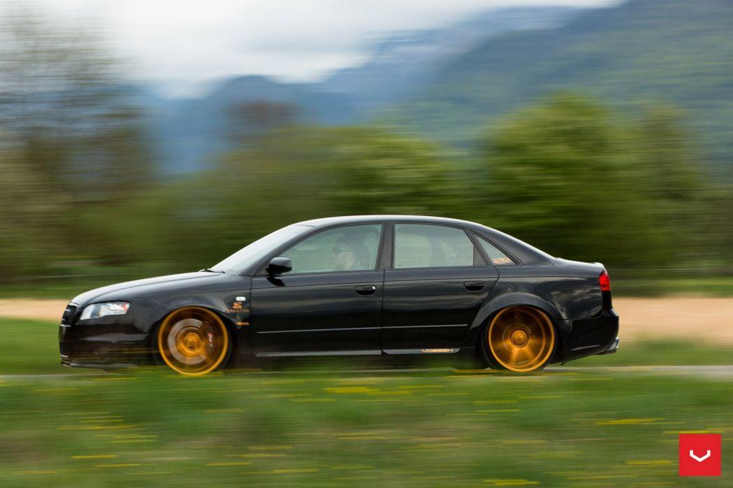 Audi RS4 Vossen Wheels cars black wallpaper