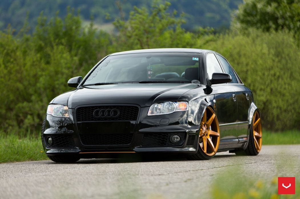 Audi RS4 Vossen Wheels cars black wallpaper
