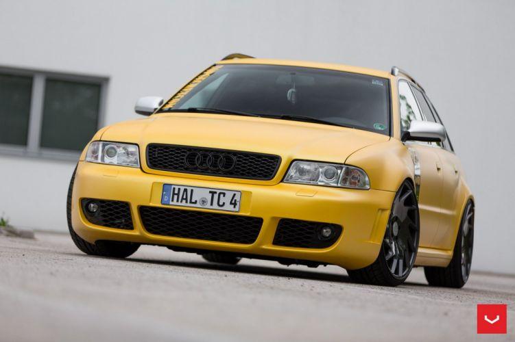 Audi RS4 avant Vossen Wheels cars yellow wallpaper