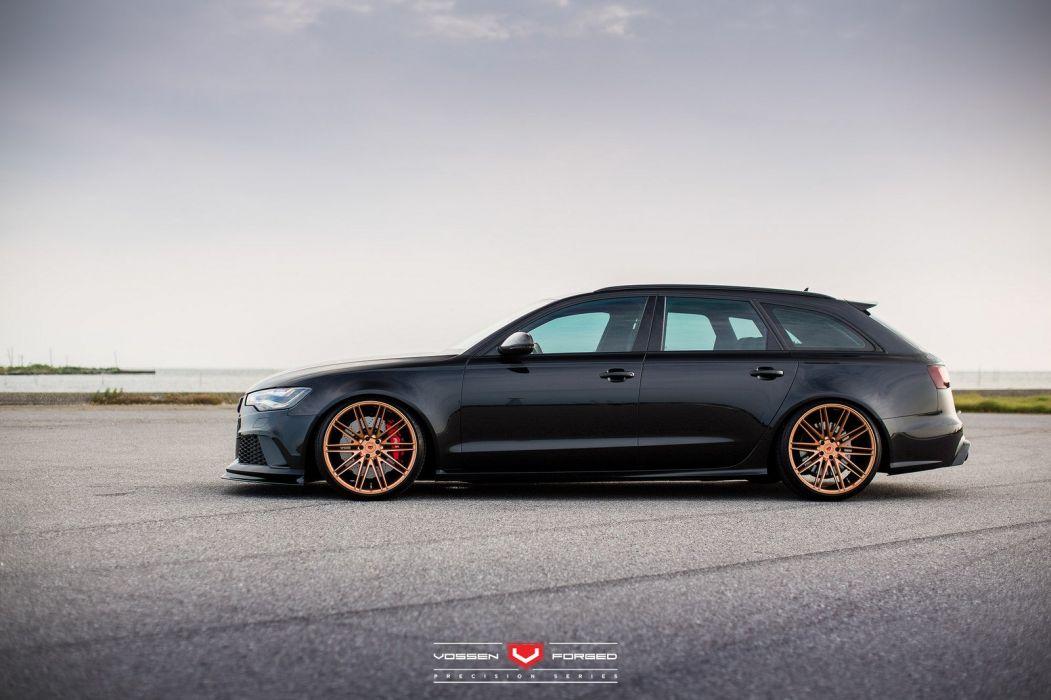 Audi RS6 avant Vossen Wheels cars black wallpaper
