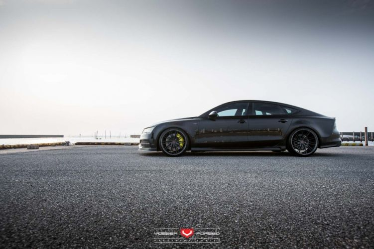 Audi S7 sedan Vossen Wheels cars black wallpaper