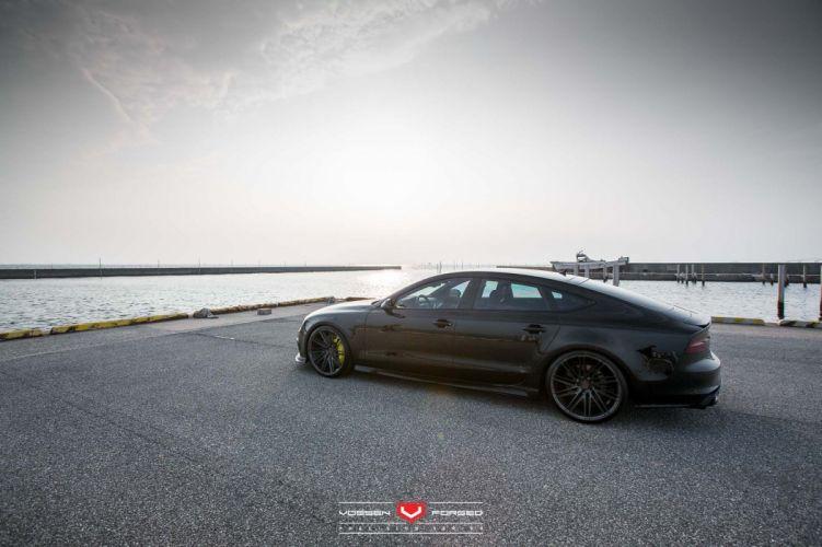 Audi S7 sedan Vossen Wheels cars black wallpaper