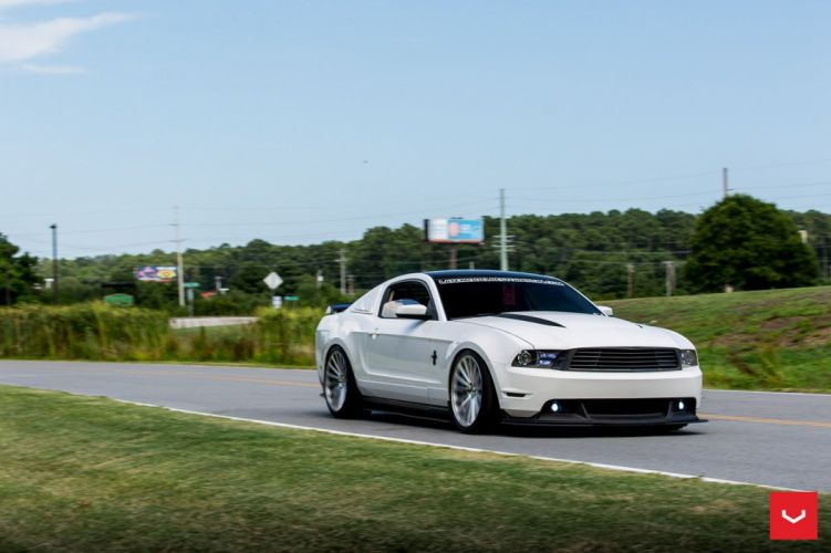 Ford Mustang coupe Vossen Wheels cars black wallpaper
