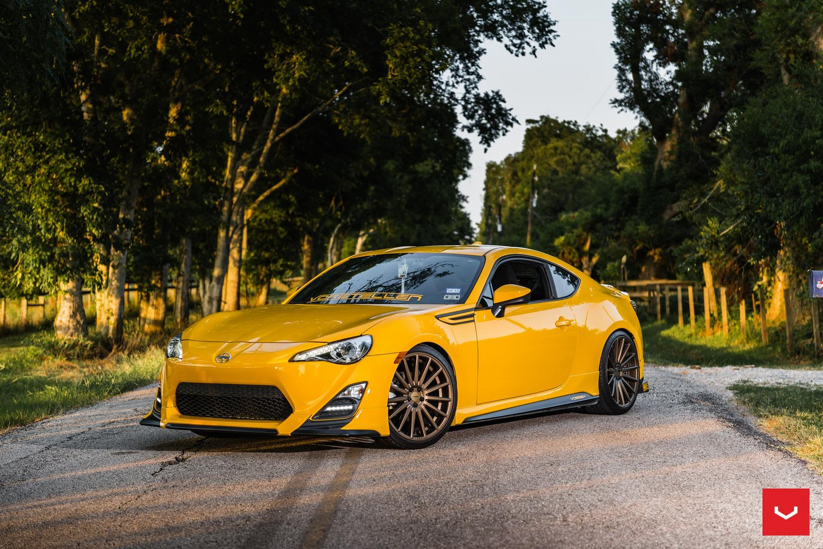 scion frs coupe vossen wheels cars yellow wallpaper. Black Bedroom Furniture Sets. Home Design Ideas