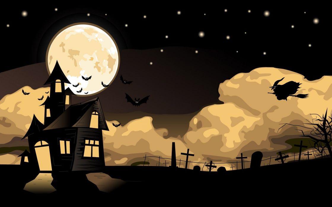 casa brujas terror halloween luna wallpaper