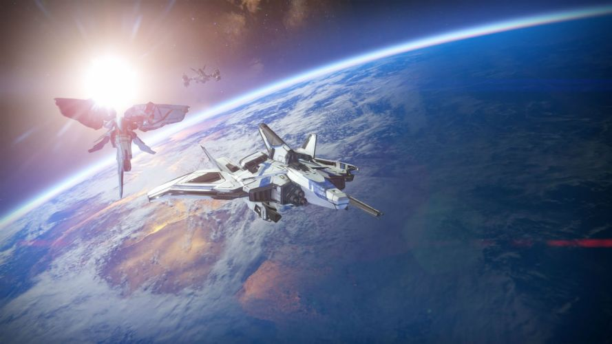 DESTINY sci-fi shooter fps action fighting futuristic warrior fantasy mmo online rpg spaceship wallpaper