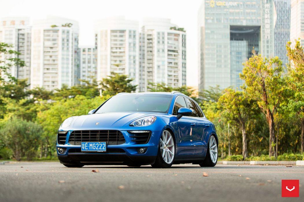 Vossen Wheels Porsche Macan suv cars blue wallpaper