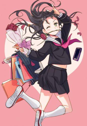 anime girl black hair blush book flower green eyes long hair school bag seifuku telephone wink wallpaper