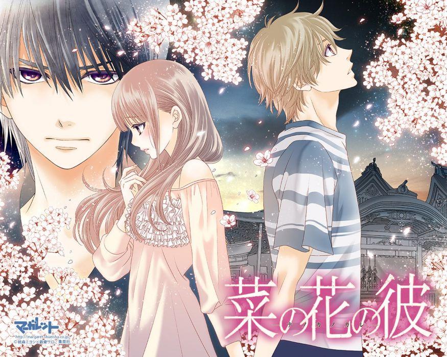 anime girl black hair blush brown eyes brown hair holding hands long hair night sakura short hair wallpaper