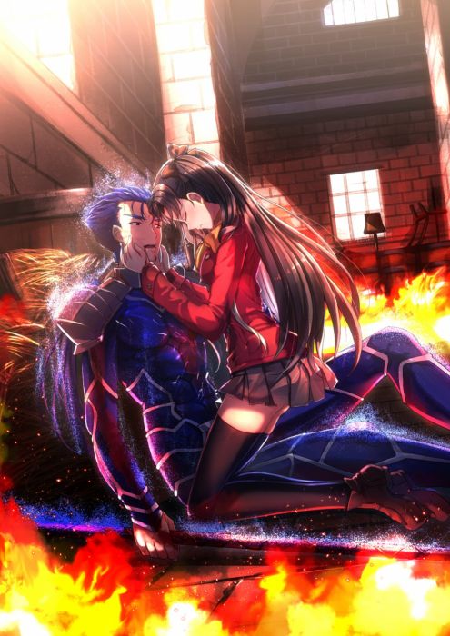 anime girl black hair blue hair fire long hair red eyes ribbon side tail skirt thigh highs warrior weapon FateStay Night wallpaper