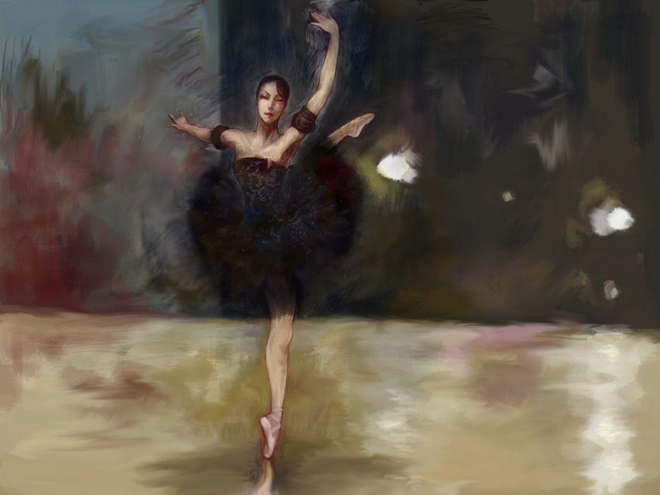 black hair dance dress short hair art oil painting wallpaper