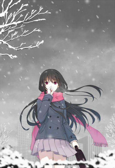 Anime Girl Black Hair Jacket Long Hair Purple Eyes Scarf