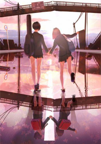 anime girl black hair brown hair child holding hands school bag seifuku short hair sky sunset water wallpaper