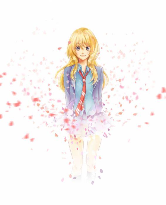 anime girl blonde hair blue eyes blush long hair sakura seifuku smile tie wallpaper