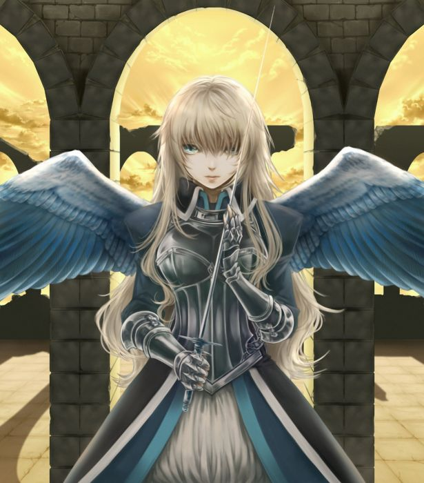 anime girl blonde hair blue eyes feather long hair sky sword warrior wings wallpaper