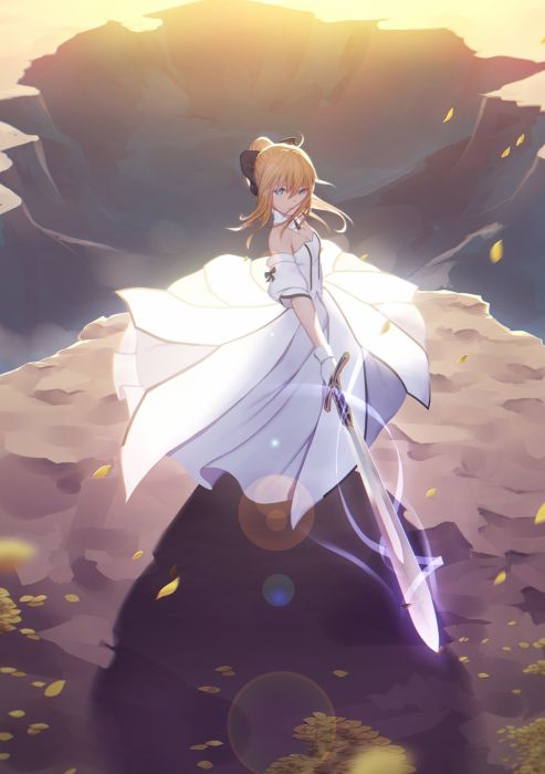 anime girl blonde hair blue eyes dress long hair magic sunset sword warrior FateStay Night wallpaper