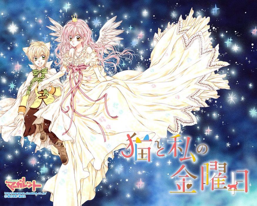 anime girl blonde hair couple dress flower gloves green eyes happy holding hands jewelry long hair neko mimi orange eyes pink hair ribbon short hair stars wings wallpaper